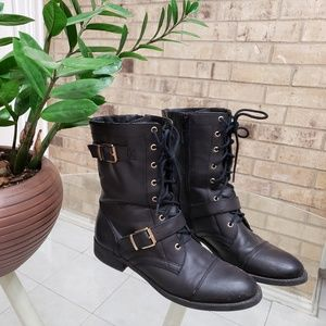 Black Military style boots from Just fab